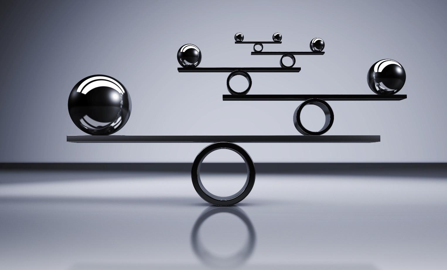 A digital balance scale using circles