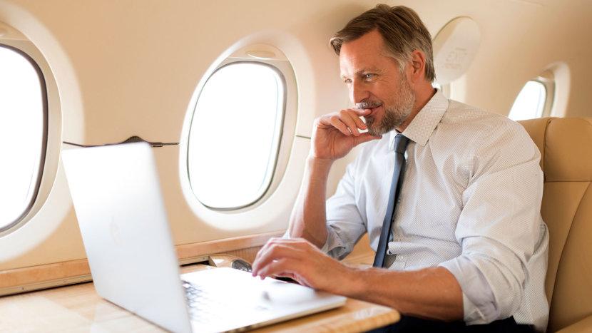 businessman on executive jet