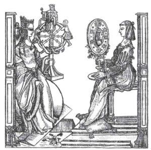 Fortuna, nữ thần may rủi (trái), đối mặt với Sapientia, nữ thần khoa học thần thánh (phải).