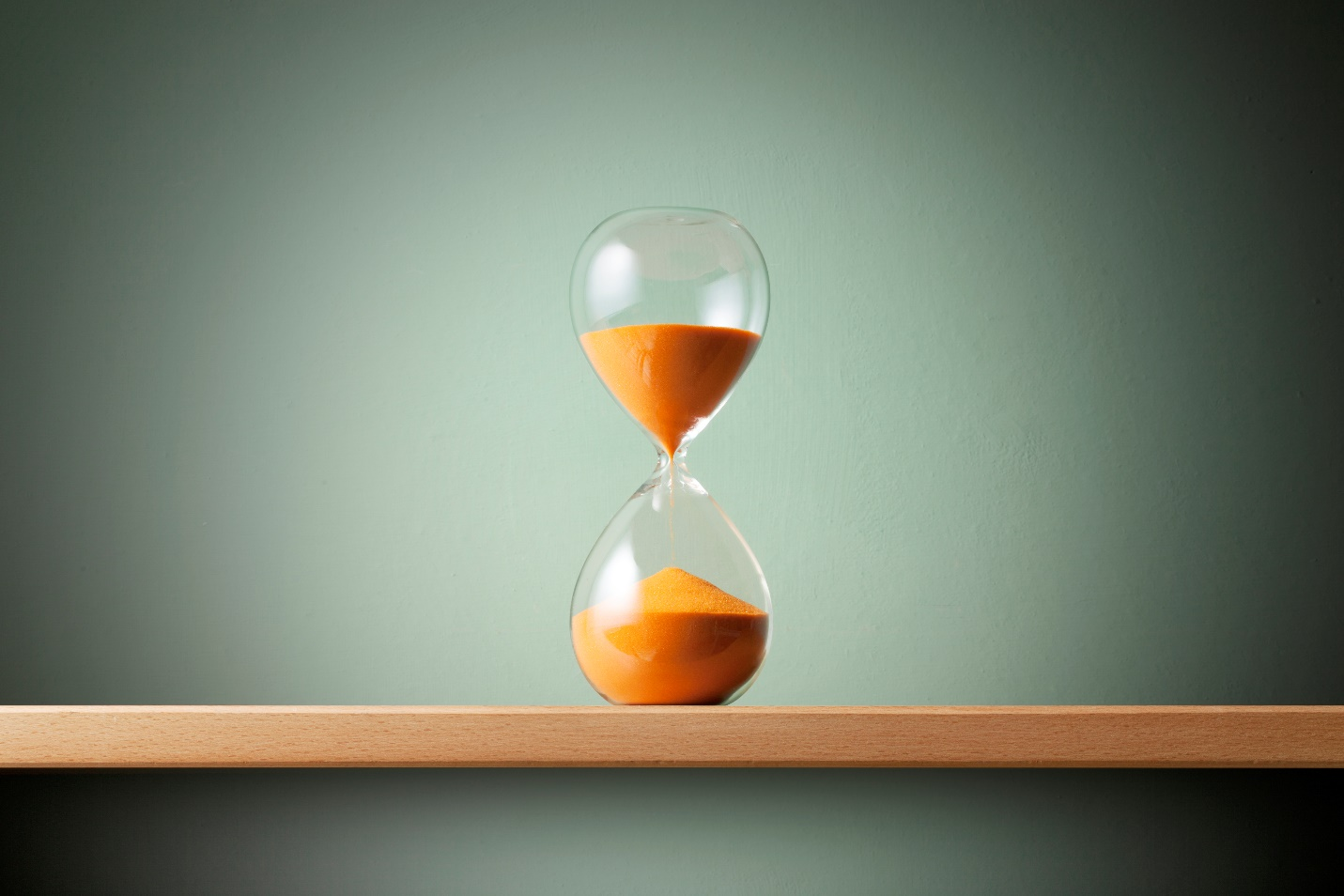 Hourglass on a flat surface