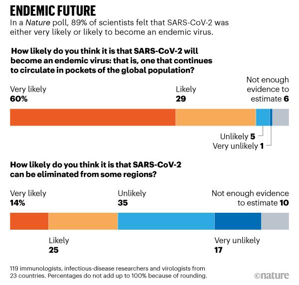 TƯƠNG LAI CUỐI CÙNG. Cuộc thăm dò tự nhiên cho thấy 89% các nhà khoa học cảm thấy rằng SARS-CoV-2 có khả năng trở thành một loại virus đặc hữu.